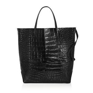 Large Croc-Embossed Leather Tote Bag